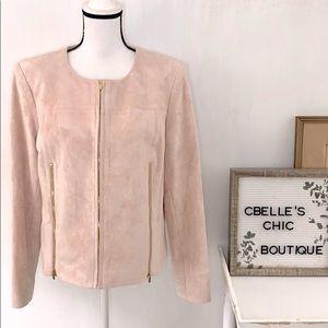 Calvin Klein Blush Pink Vegan Suede Jacket Sz 16